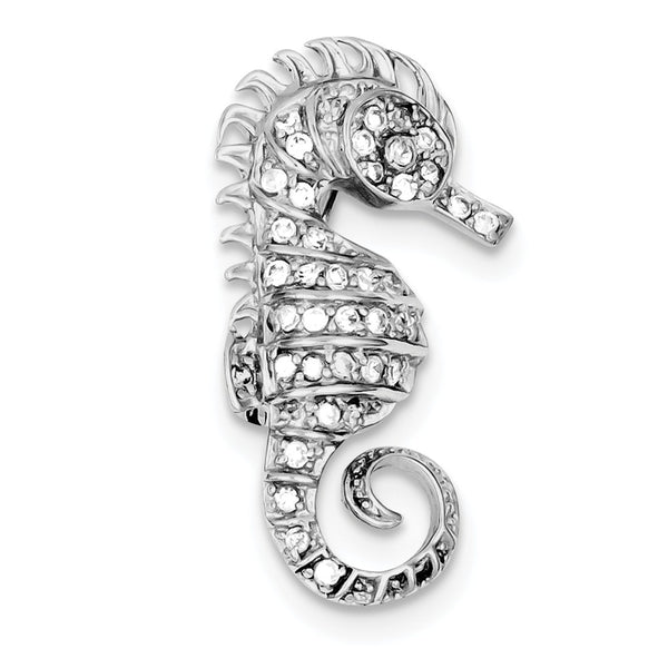 Sterling Silver Rhodium-plated Cubic Zirconia Seahorse Pin