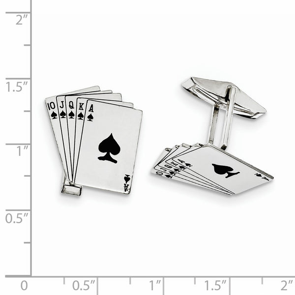 Sterling Silver Rhodium-plated Royal Flush Cuff Links
