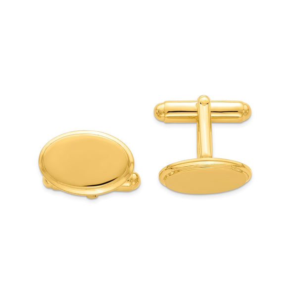 Sterling Silver & Vermeil Oval Cuff Links