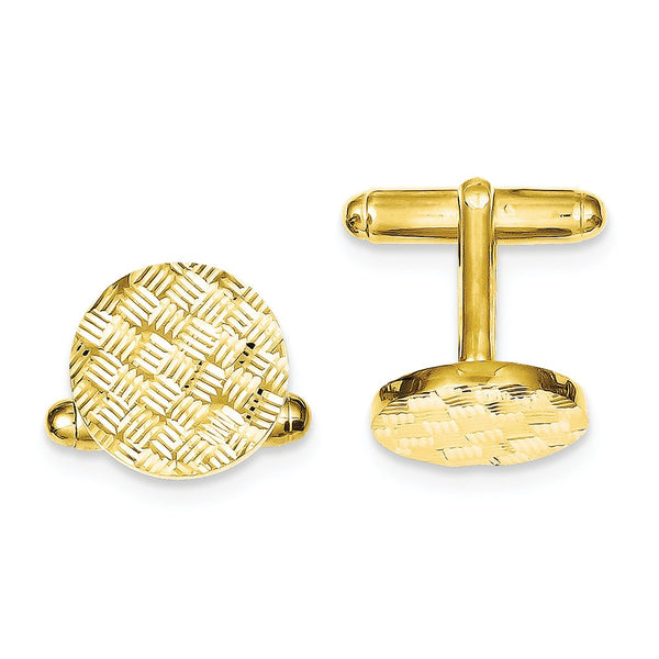 Sterling Silver & Vermeil Round Woven Design D/C Cuff Links