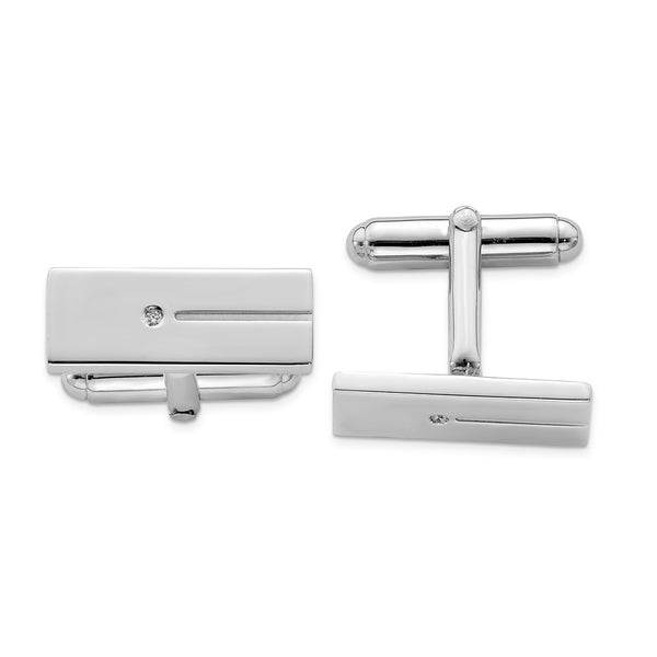 Sterling Silver Rhodium-plated Cubic Zirconia Rectangle Cuff Links