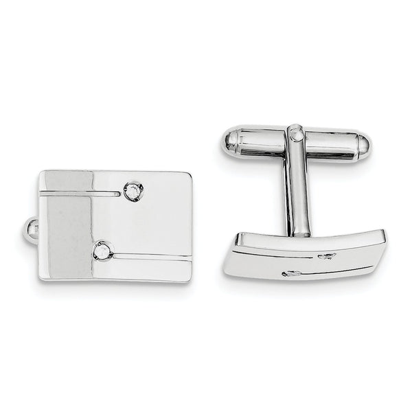 Sterling Silver Rhodium-plated Rectangle with Cubic Zirconia Cuff Links