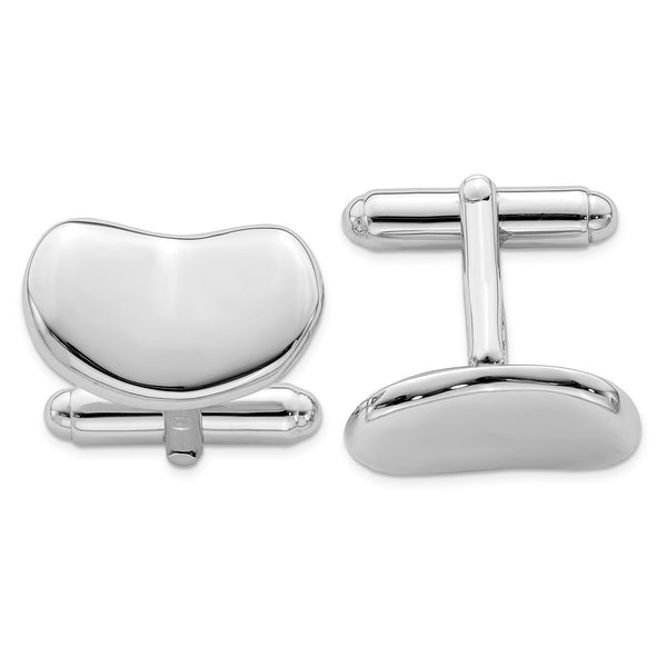 Sterling Silver Rhodium-plated Wavy Design Cuff Links