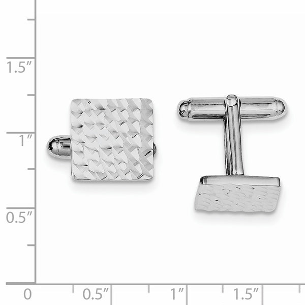 Sterling Silver Rhodium-plated Diamond-cut Square Cuff Links