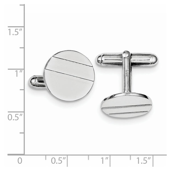 Sterling Silver Rhodium-plated Circle Cuff Links