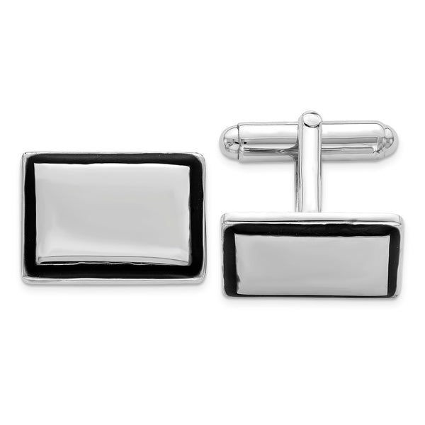 Sterling Silver Rhodium-plated and Black Enamel Cuff Links