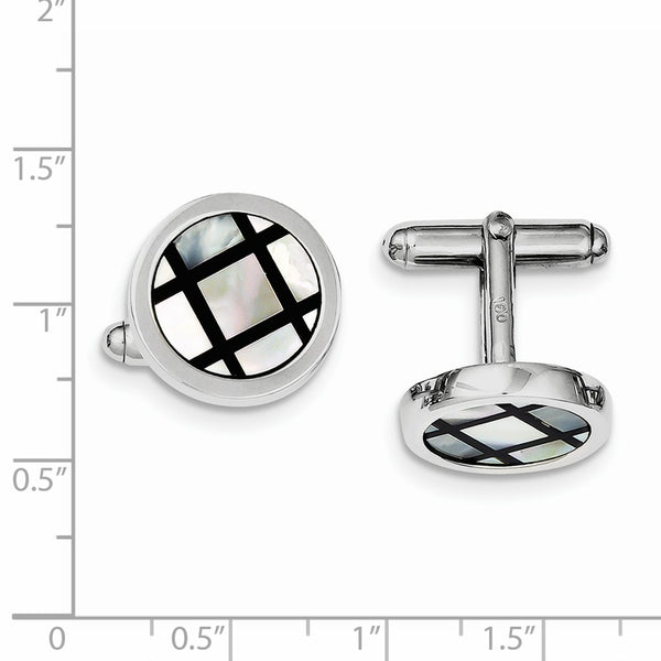 Sterling Silver Rhodium-plated with MOP & Black Enamel Cuff Links
