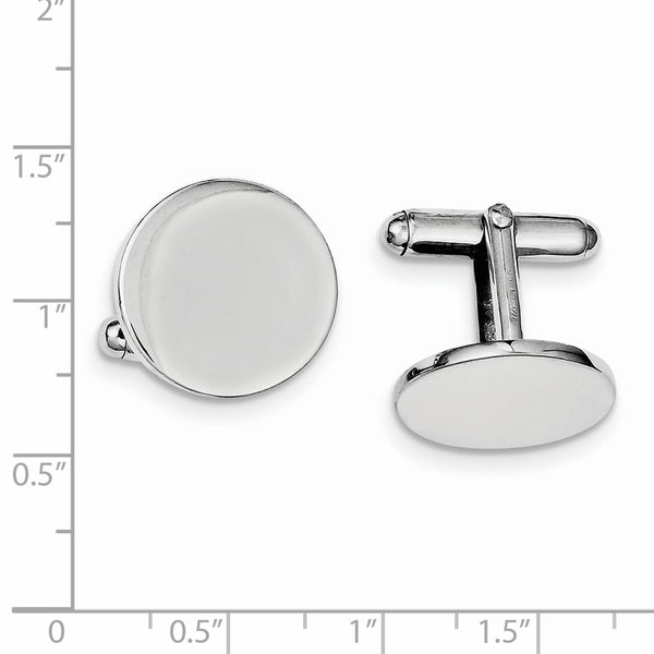 Sterling Silver Rhodium Plated Round Cuff Links