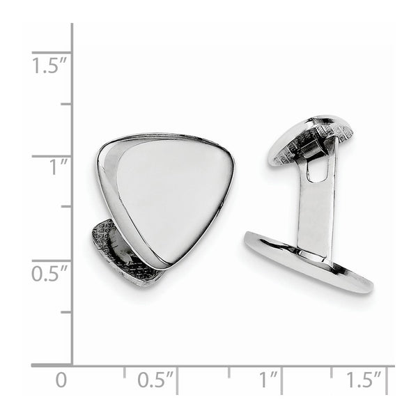 Sterling Silver Rhodium Plated Triangle Cuff Links