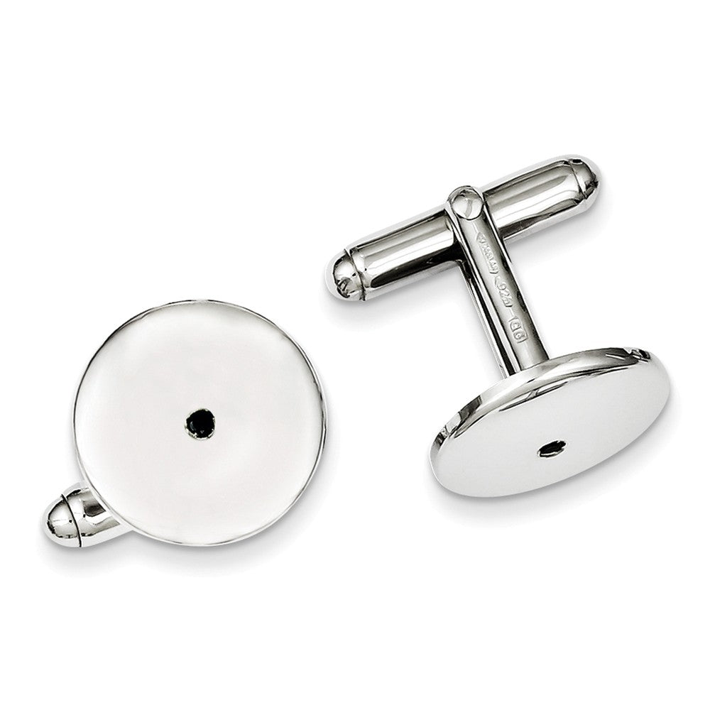 Sterling Silver Rhodium Plated Black Cubic Zirconia Cuff Links