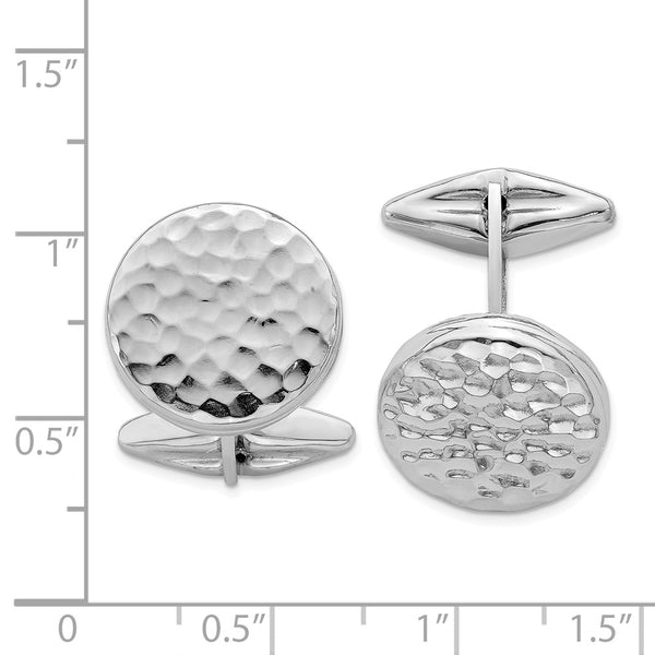 Sterling Silver Rhodium-plated Polished & Hammered Round Cuff Link