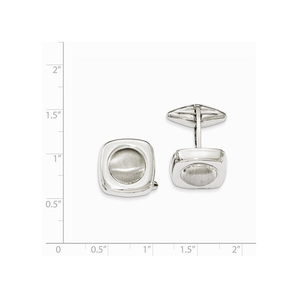 Sterling Silver Polished & Satin Circle Center Cuff Link
