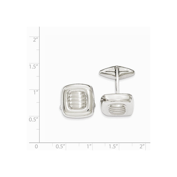 Sterling Silver Polished & Satin Squares Cuff Link
