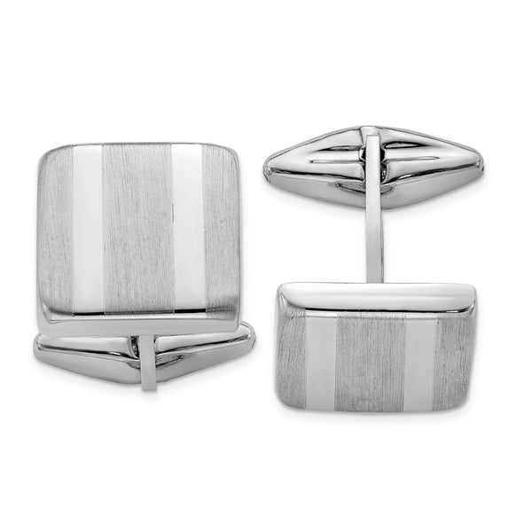 Sterling Silver Rhodium-plated Polished & Satin Striped Cuff Link