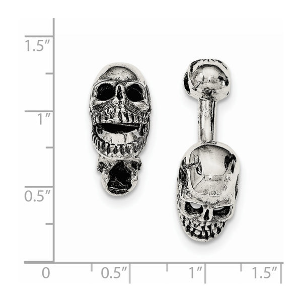 Sterling Silver Antiqued Black Ink Texture Moveable Skull Cuff Links
