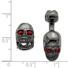 Load image into Gallery viewer, Sterling Silver Ruthenium Plated Swarovski Element Movable Skull Cuff Link