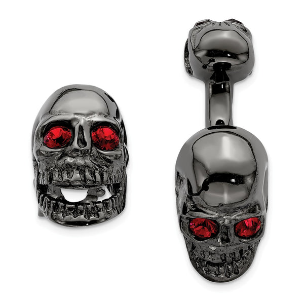 Sterling Silver Ruthenium Plated Swarovski Element Movable Skull Cuff Link