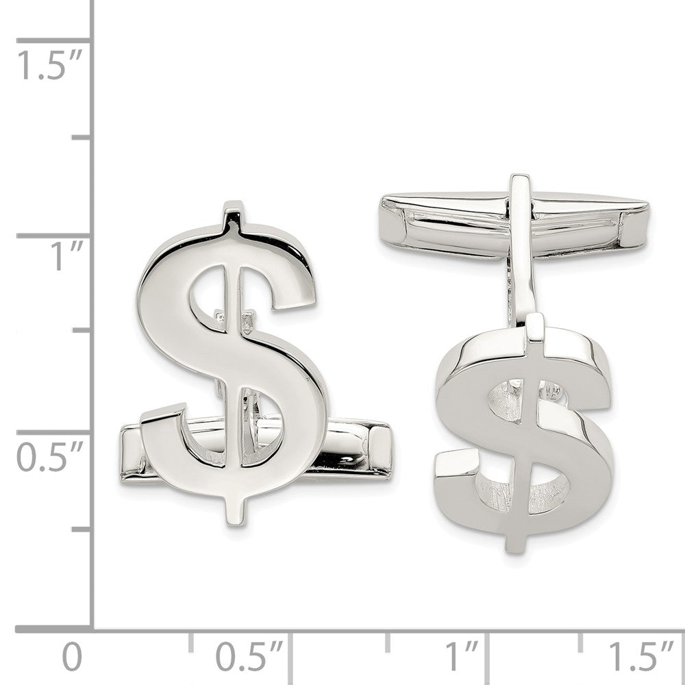 Sterling Silver Money Sign Cuff Links