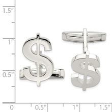 Load image into Gallery viewer, Sterling Silver Money Sign Cuff Links
