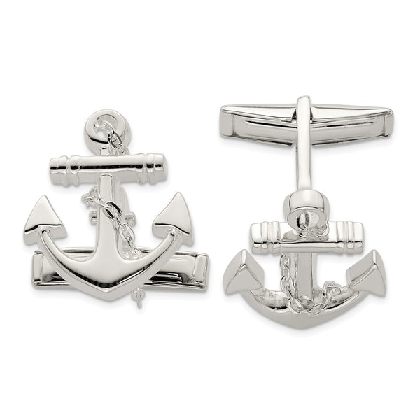 Sterling Silver Anchor with dangle rope Cuff Links