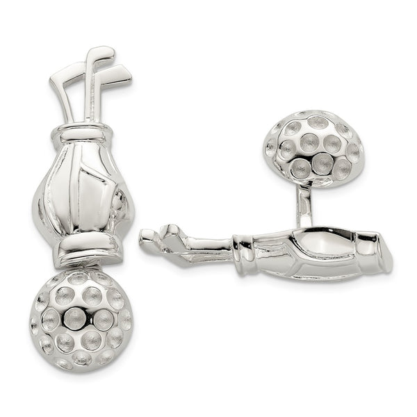 Sterling Silver Reversible Golf Clubs &Ball Cuff Links