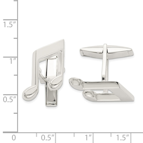 Sterling Silver Music Note Cuff Links