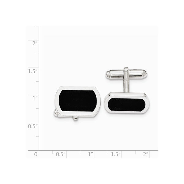 Sterling Silver Black Enamel Center Cuff Link