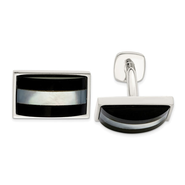 Sterling Silver Mother Of Pearl & Onyx Cuff Links