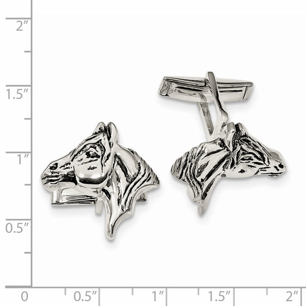 Sterling Silver Antiqued Horse Head Cuff Links