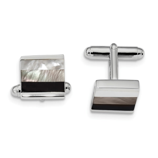Sterling Silver Rhodium-plated Onyx and White/Grey MOP Cuff Links