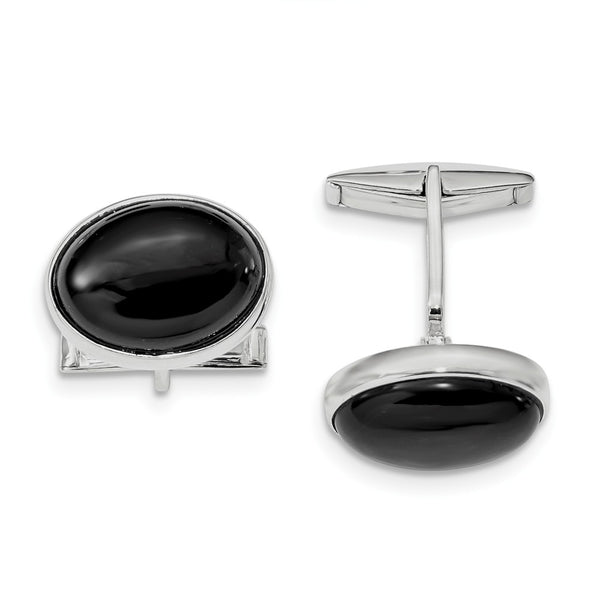 Sterling Silver Rhodium-plated Cabochon Onyx Cuff Links
