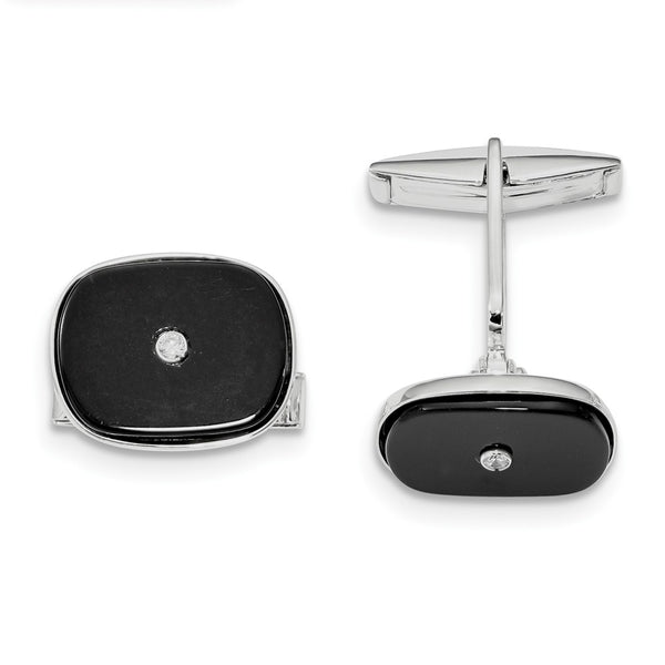 Sterling Silver Rhodium-plated Black Agate & Cubic Zirconia Cuff Links