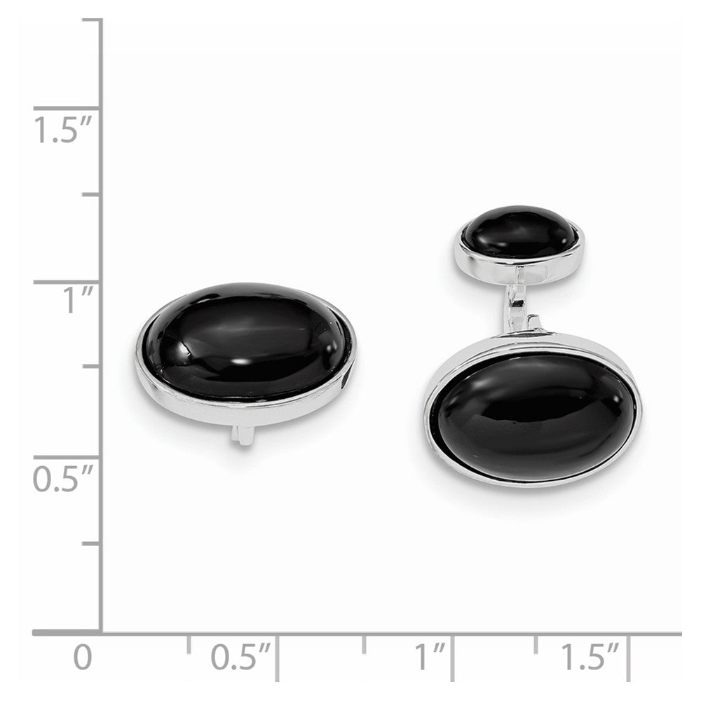 Sterling Silver Rhodium-plated Oval Onyx Cuff Links