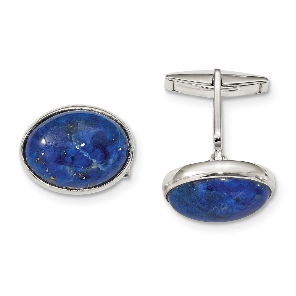 Sterling Silver Cabochon Lapis Cuff Links