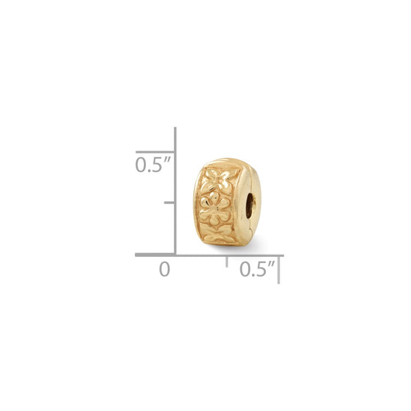 Sterling Silver Gold-plated Reflections Hinged Floral Clip Bead