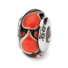 Load image into Gallery viewer, Sterling Silver Reflections Red Heart Hand-blown Glass Bead