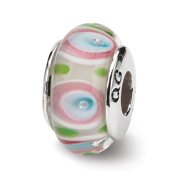 Sterling Silver Reflections Multi Hand-blown Glass Bead