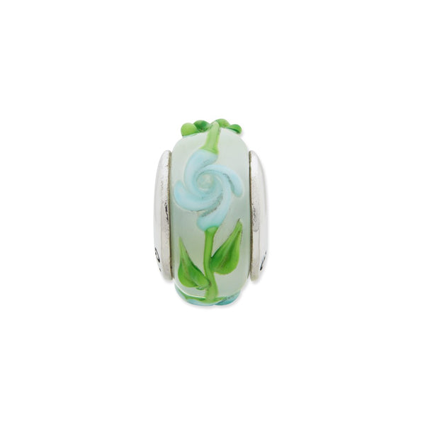 Sterling Silver Reflections Green/Blue Floral Hand-blown Glass Bead