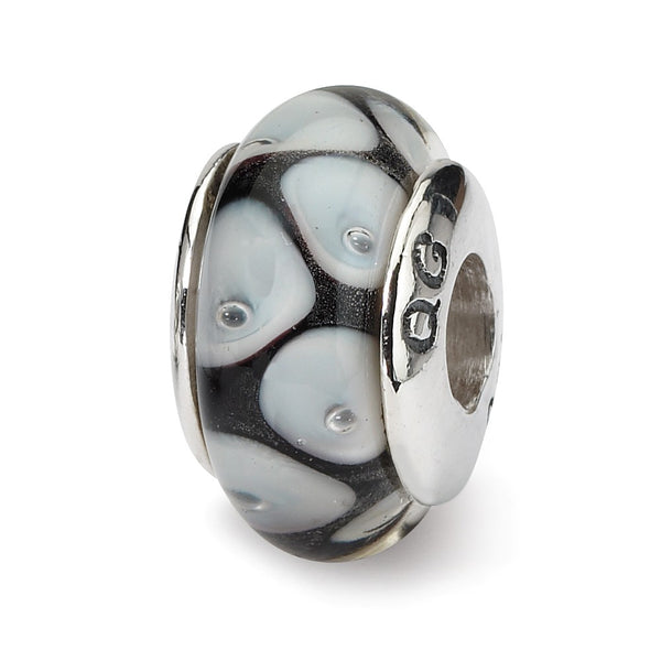 Sterling Silver Reflections Black/Grey Hand-blown Glass Bead