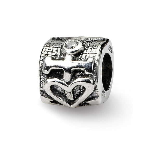 Sterling Silver Reflections Heart and Anchor CZ Bead