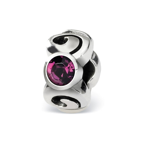 Sterling Silver Reflections Feb Swarovski Crystal Birthstone Bead