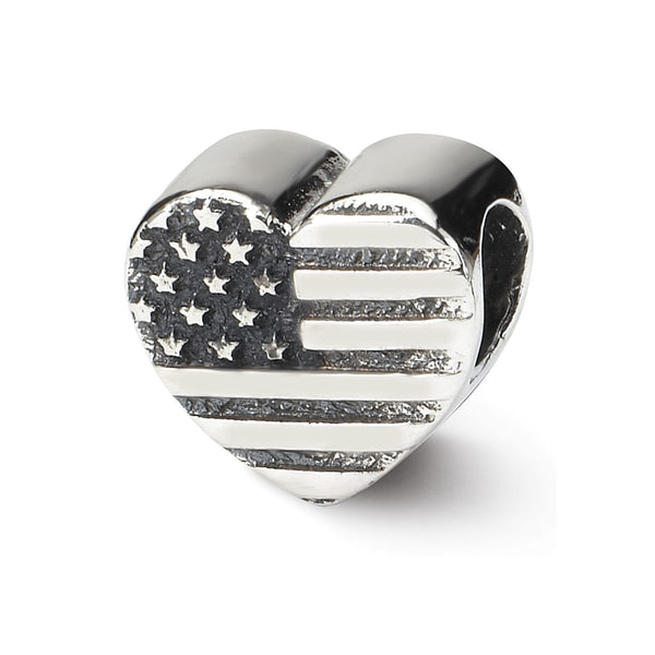 Sterling Silver Reflections Heart Flag Bead