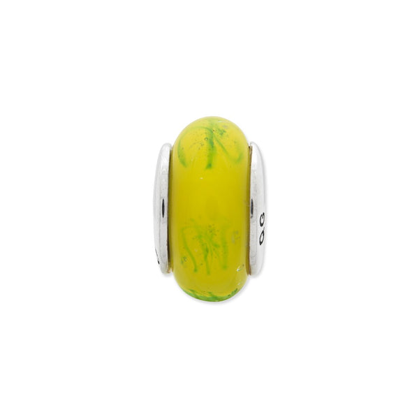 Sterling Silver Reflections Yellow/Green Scribbles Hand-blown Glass Bead