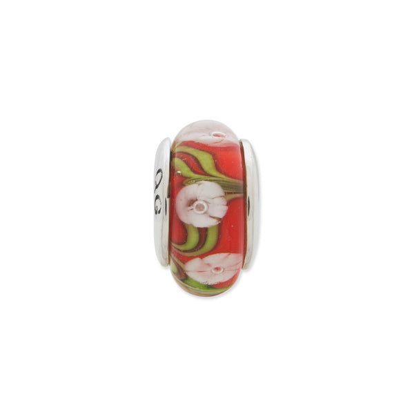 Sterling Silver Reflections Red/White Floral Hand-blown Glass Bead