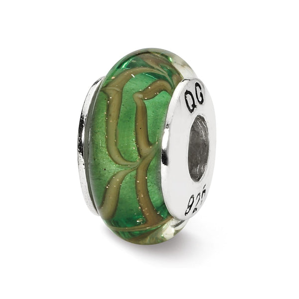 Sterling Silver Reflections Lt. Green/Tan Swirl Hand-blown Glass Bead