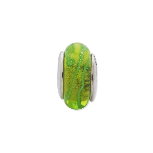 Sterling Silver Reflections Lt. Green Hand-blown Glass Bead