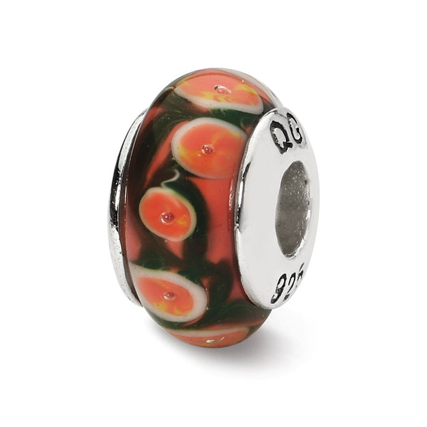 Sterling Silver Reflections Red/Orange Hand-blown Glass Bead