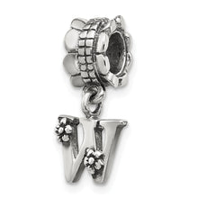 Load image into Gallery viewer, Sterling Silver Reflections Letter W Dangle Bead