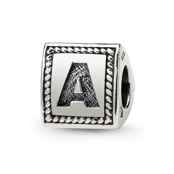 Sterling Silver Reflections Letter A Triangle Block Bead