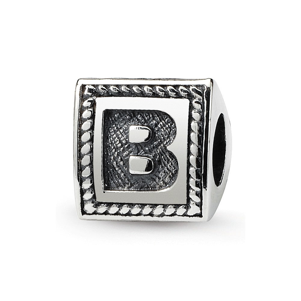 Sterling Silver Reflections Letter B Triangle Block Bead